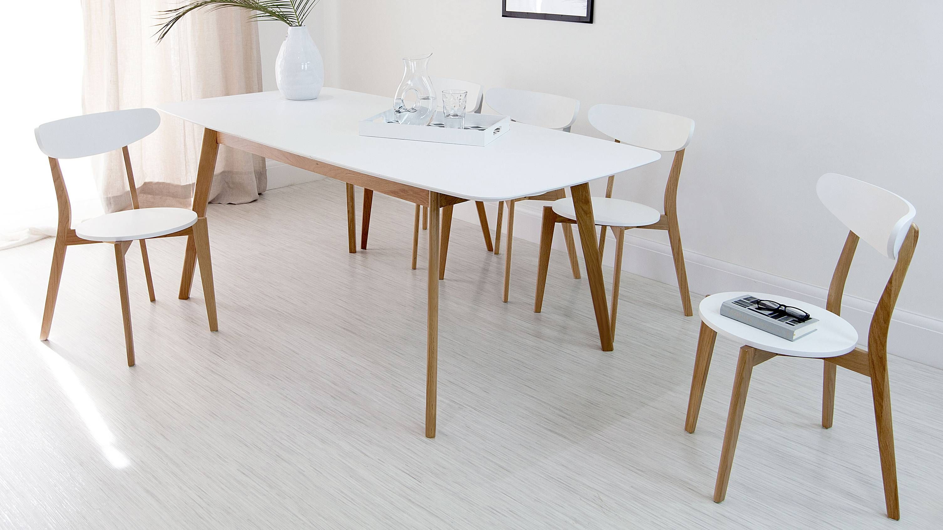Aver White And Oak Extending Dining Table Ikea White Dining Table Extendable Dining Table Dining Table