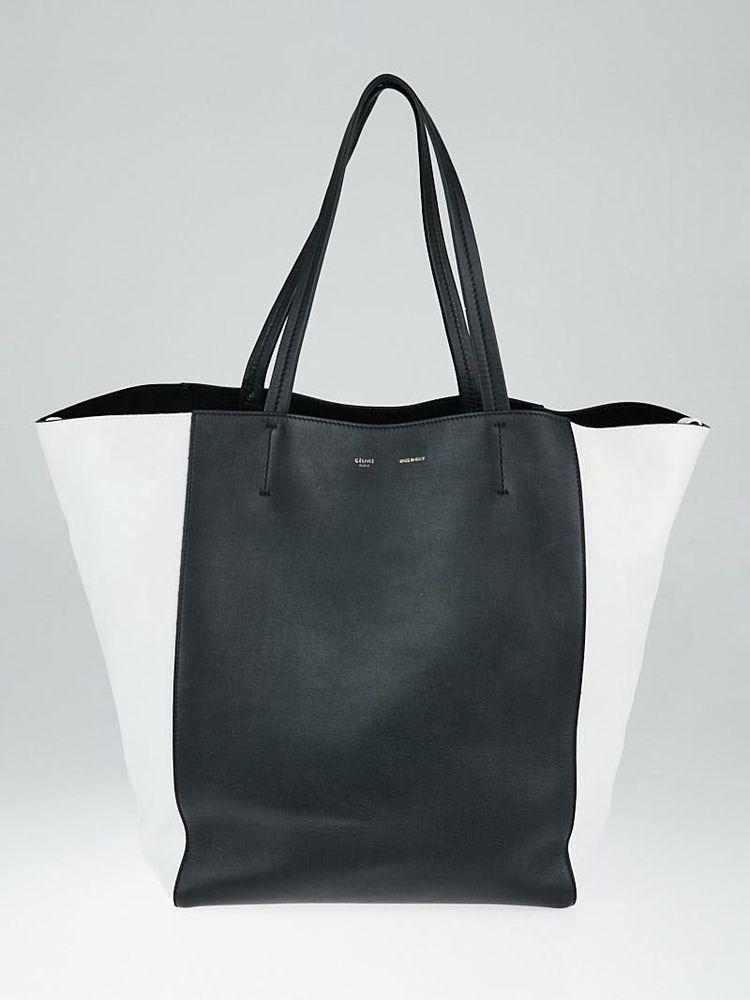 4340864fd068 Celine Black and White Calfskin Leather Horizontal Phantom Medium Cabas Tote  Bag  Celine  EverydayBagsTotes
