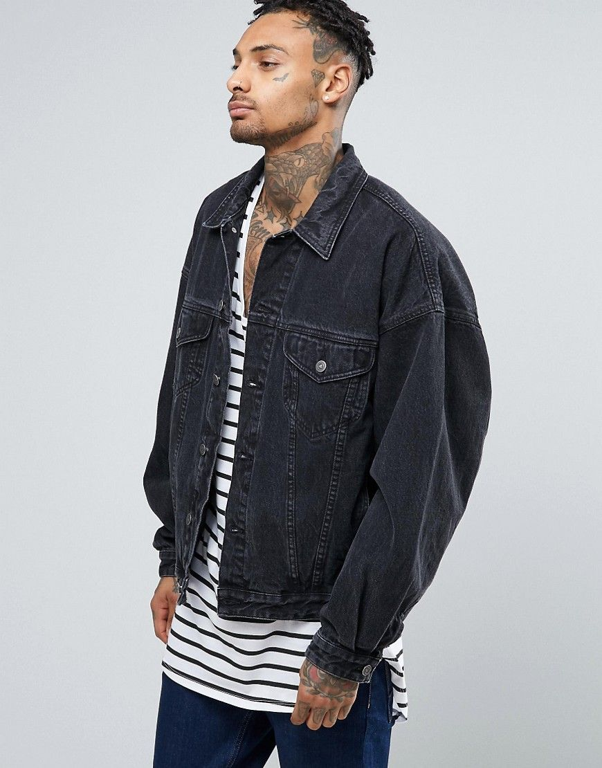 ASOS Denim Jacket In Oversized Fit With Black Wash - Black   Get In ... 5b66dc8e62