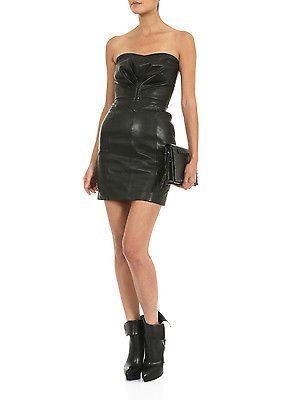 ea09391c126 Saint Laurent Slimane YSL Heart-Shaped Bustier Dress in Black Leather FR 34  XXS
