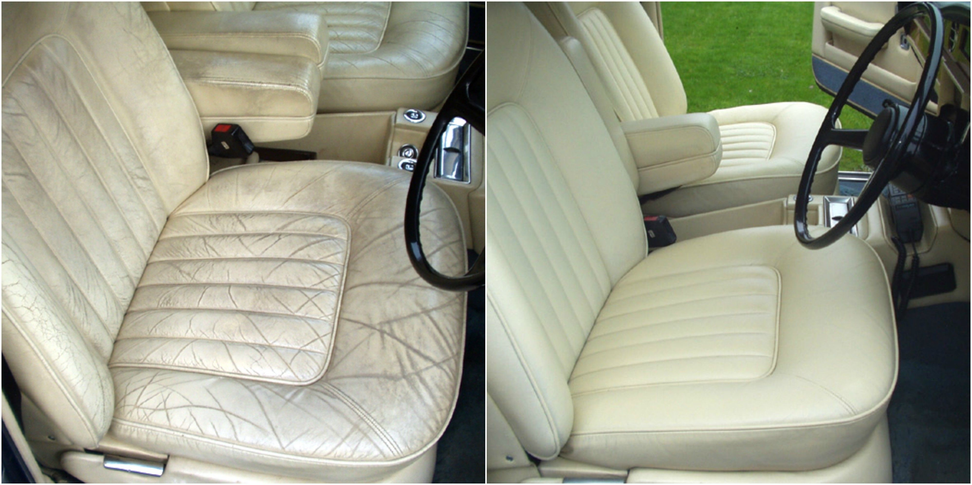 Before and after of a rolls royce silver shadow interior - Auto interior restoration products ...