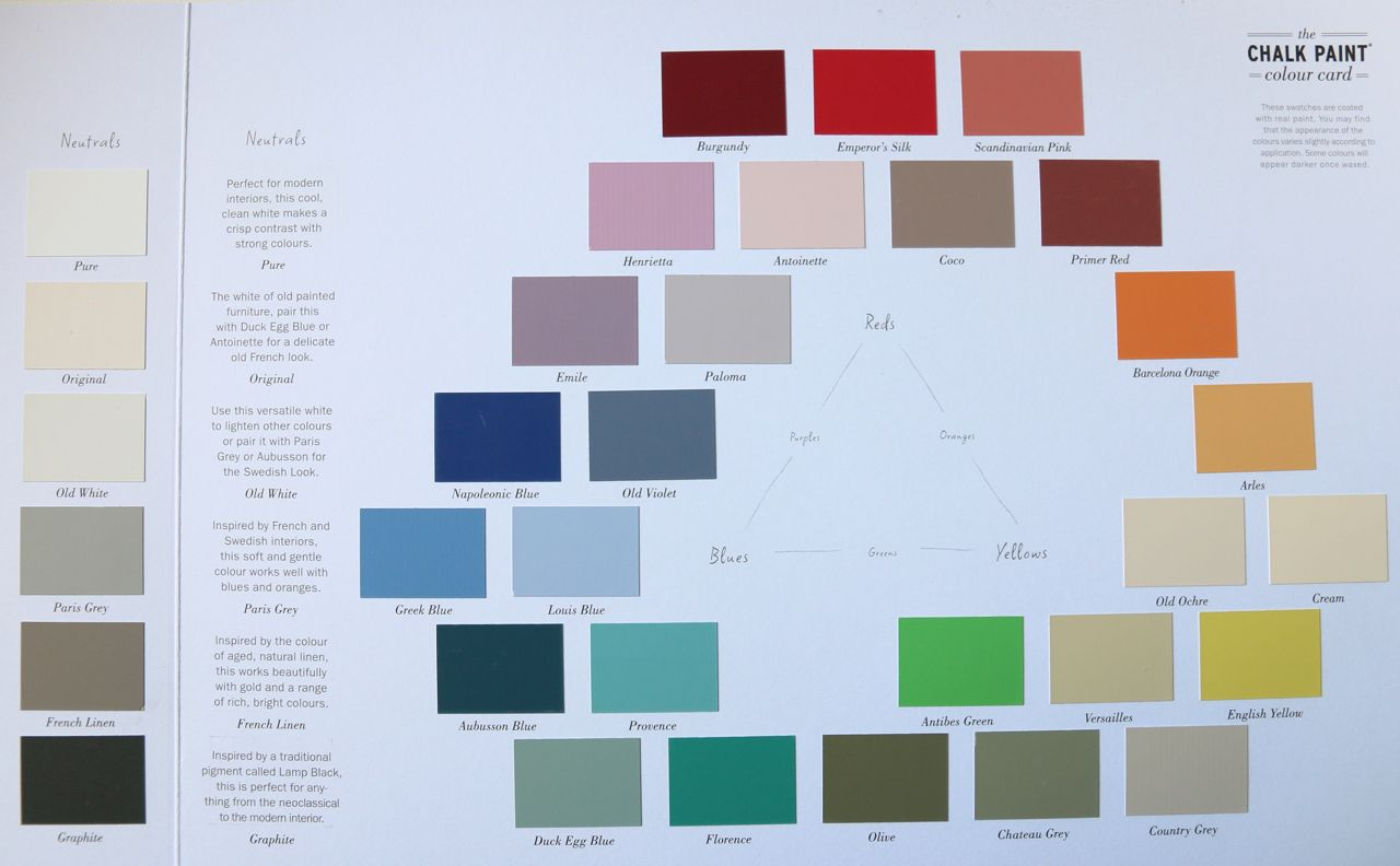 Vernice Chalk Paint Annie Sloan cartella colori annie sloan aggiornata, 33 splendidi colori