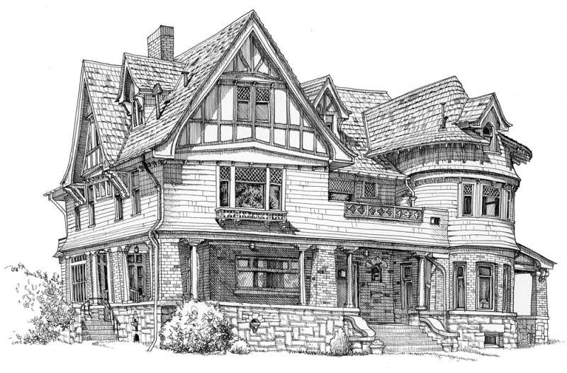 Story Mansion Urban Sketching Bozeman House Portraits