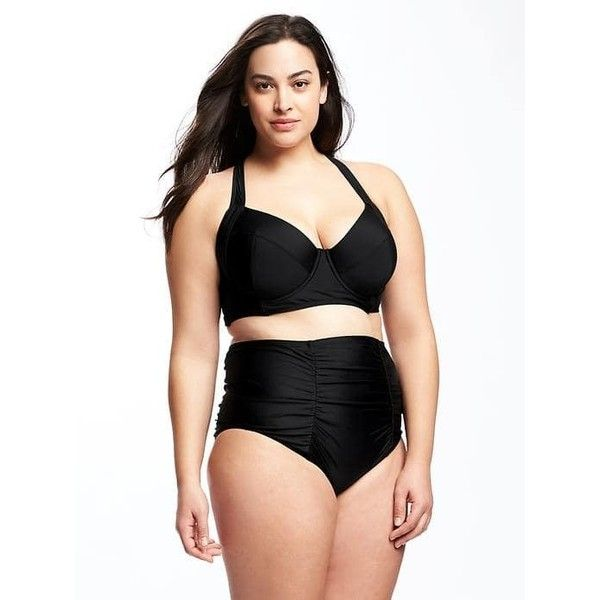 old navy long line plus size underwire bikini top ($34) ❤ liked