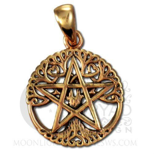 Tree Pentacle Pendant Copper Dryad Design Druid Small World Tree Amulet cut outs
