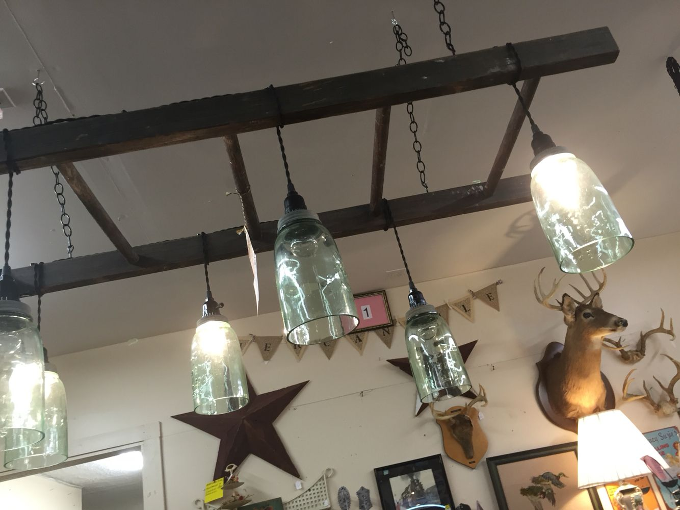 Ladder light fixture with ball jars for the home kitchen ladder light fixture with ball jars arubaitofo Images