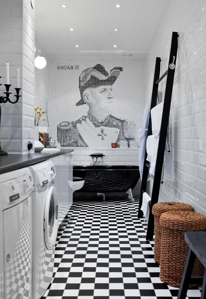 salle de bain noir et blanc - carrelage métro blanc et carreaux de