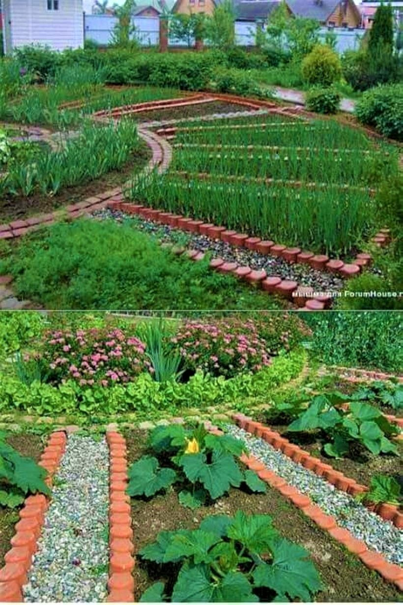 circular potager garden with gravel