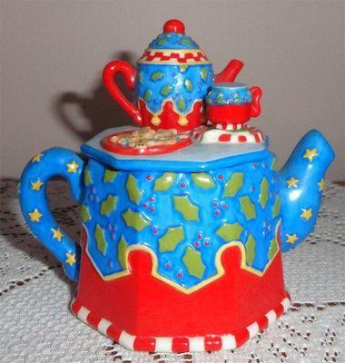 Mary Engelbreit Christmas Teapot Gingerbread Holly Mini Teapot | eBay