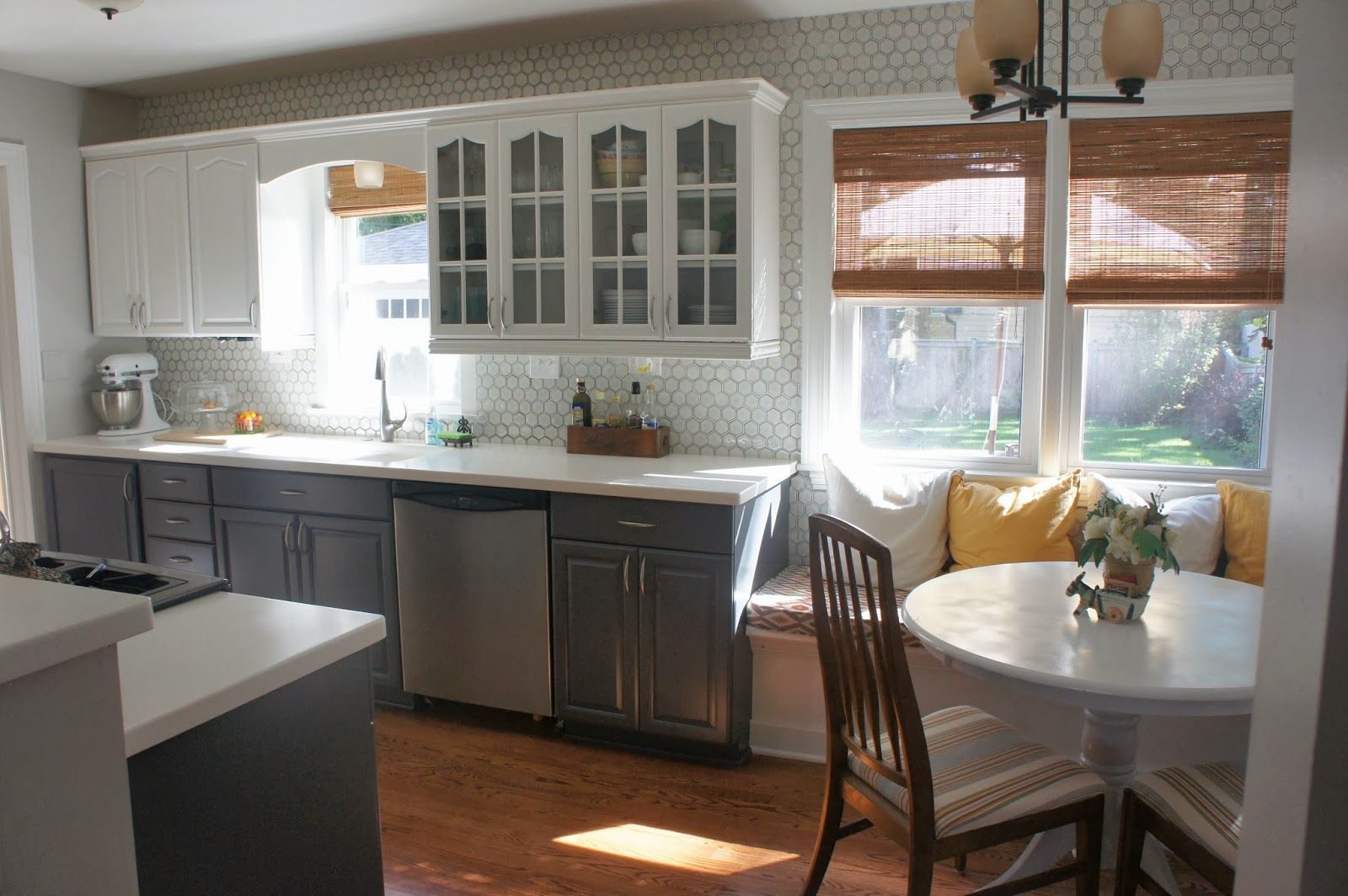 White Kitchen Cabinet Designs Gray And White Kitchen Makeover With Hexagon Tile Backsplash