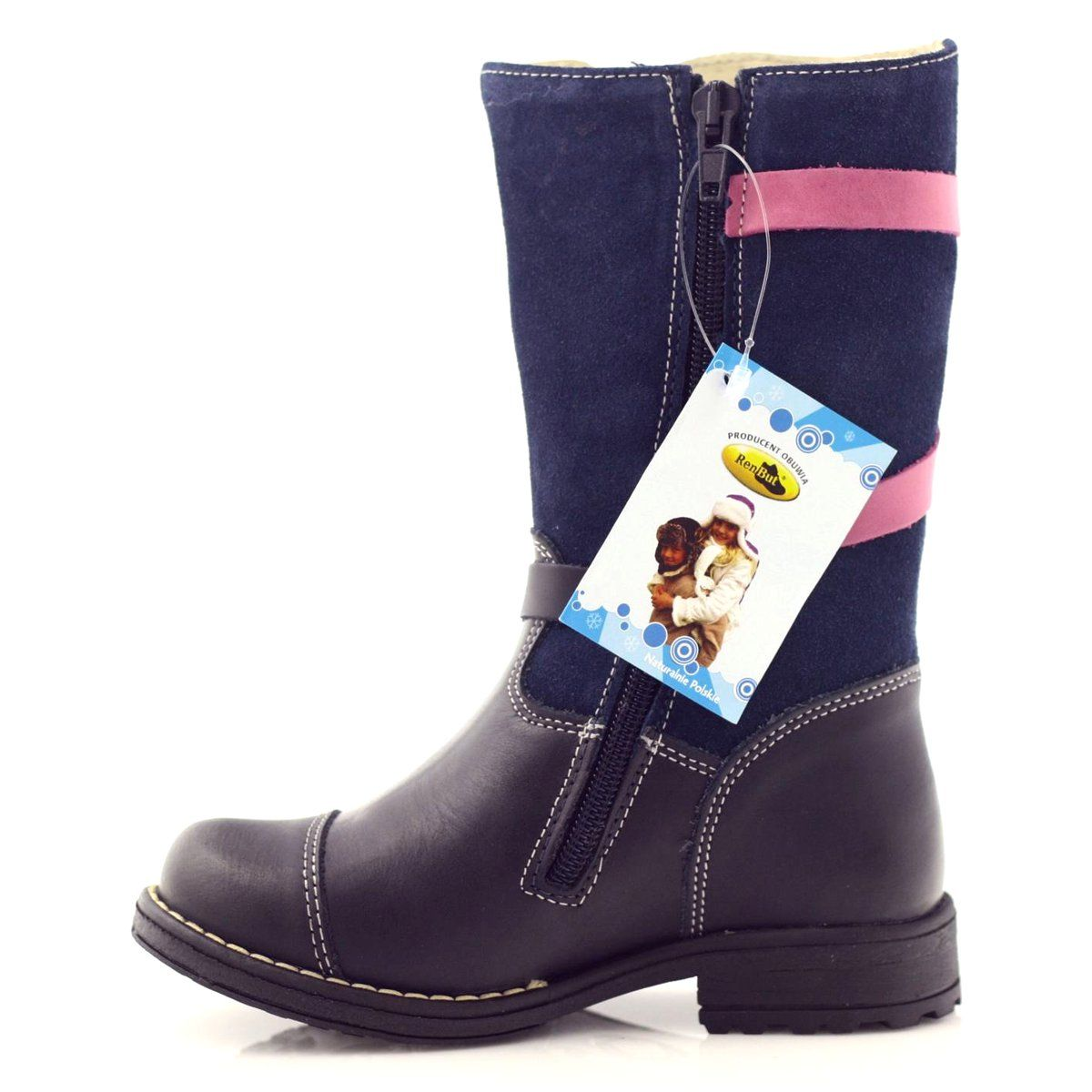 Kozaczki Buty Dzieciece Zimowe Ren But 3172 Granatowe Rozowe Boots Shoes Winter Boot