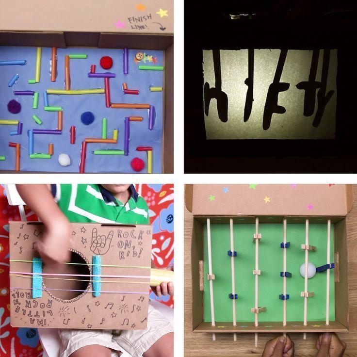 Recycled Shoebox Toys [Vídeo] | Artesanato infanti