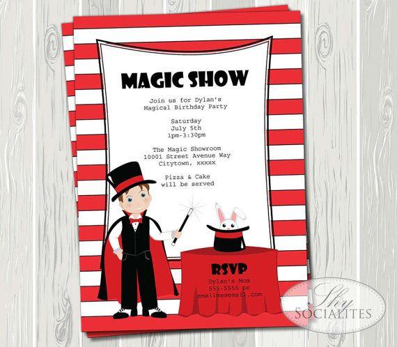 Magic Show Invitation Magic Party Magic Birthday Magic Wand