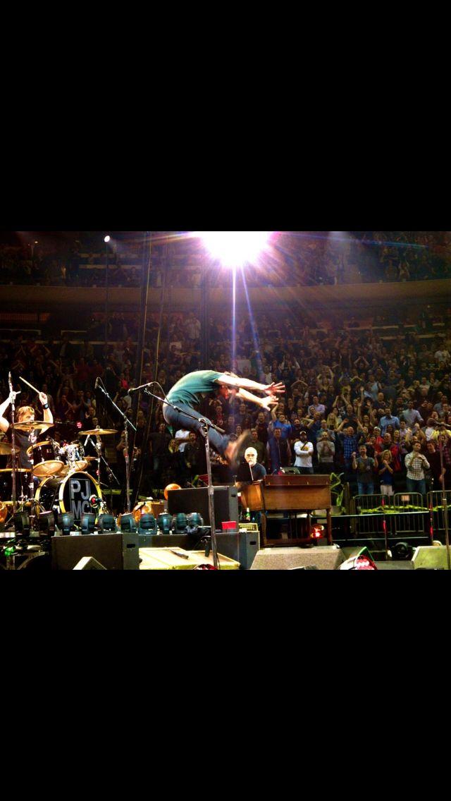 5/1/2016 Eddie Vedder leaps during Madison Square Garden show