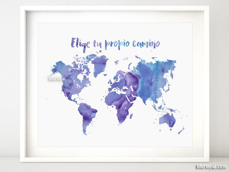 Printable world map purple watercolor map spanish por printable world map purple watercolor map spanish por blursbyaishop gumiabroncs Choice Image