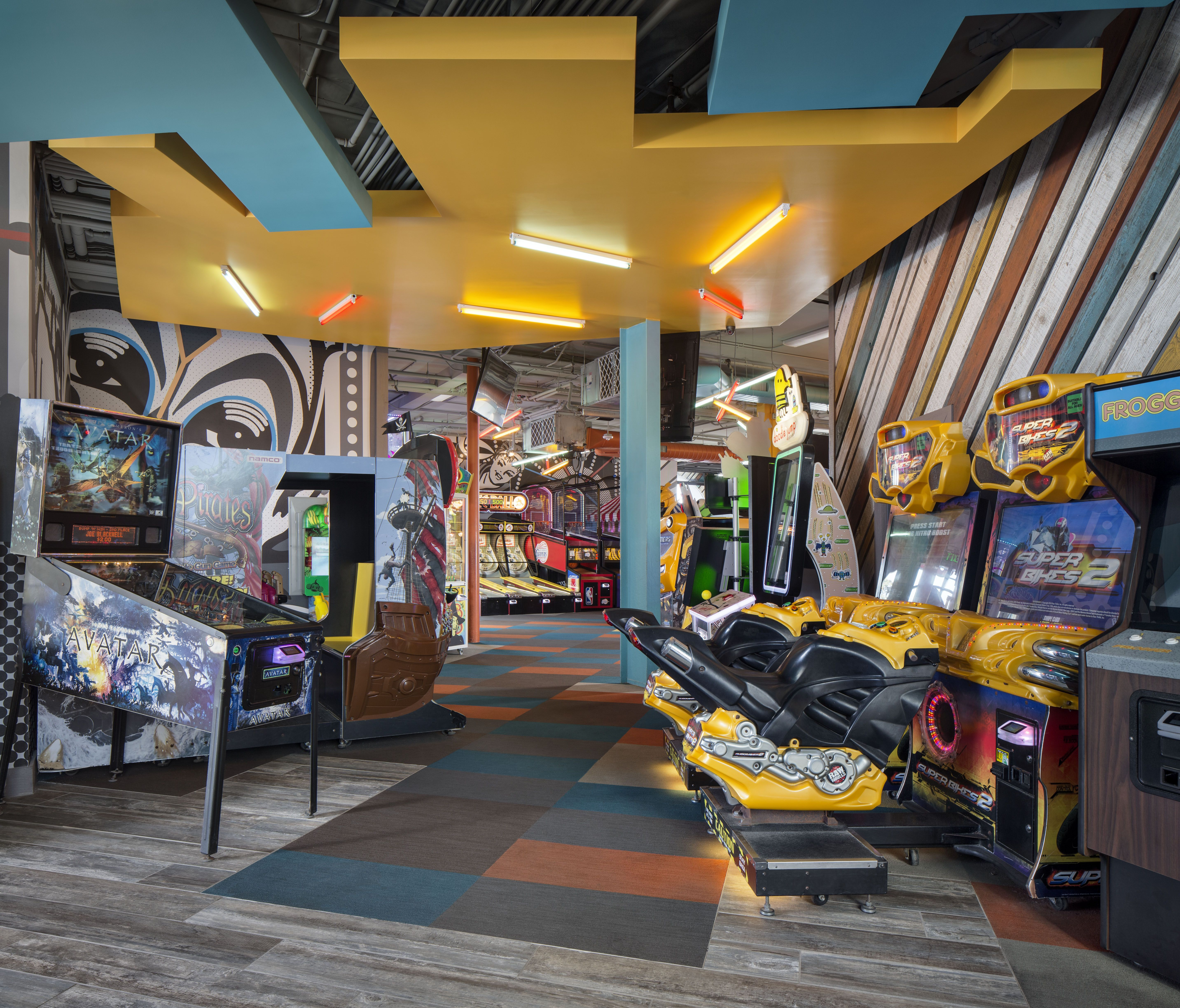 interior design for an arcade in mission beach, california