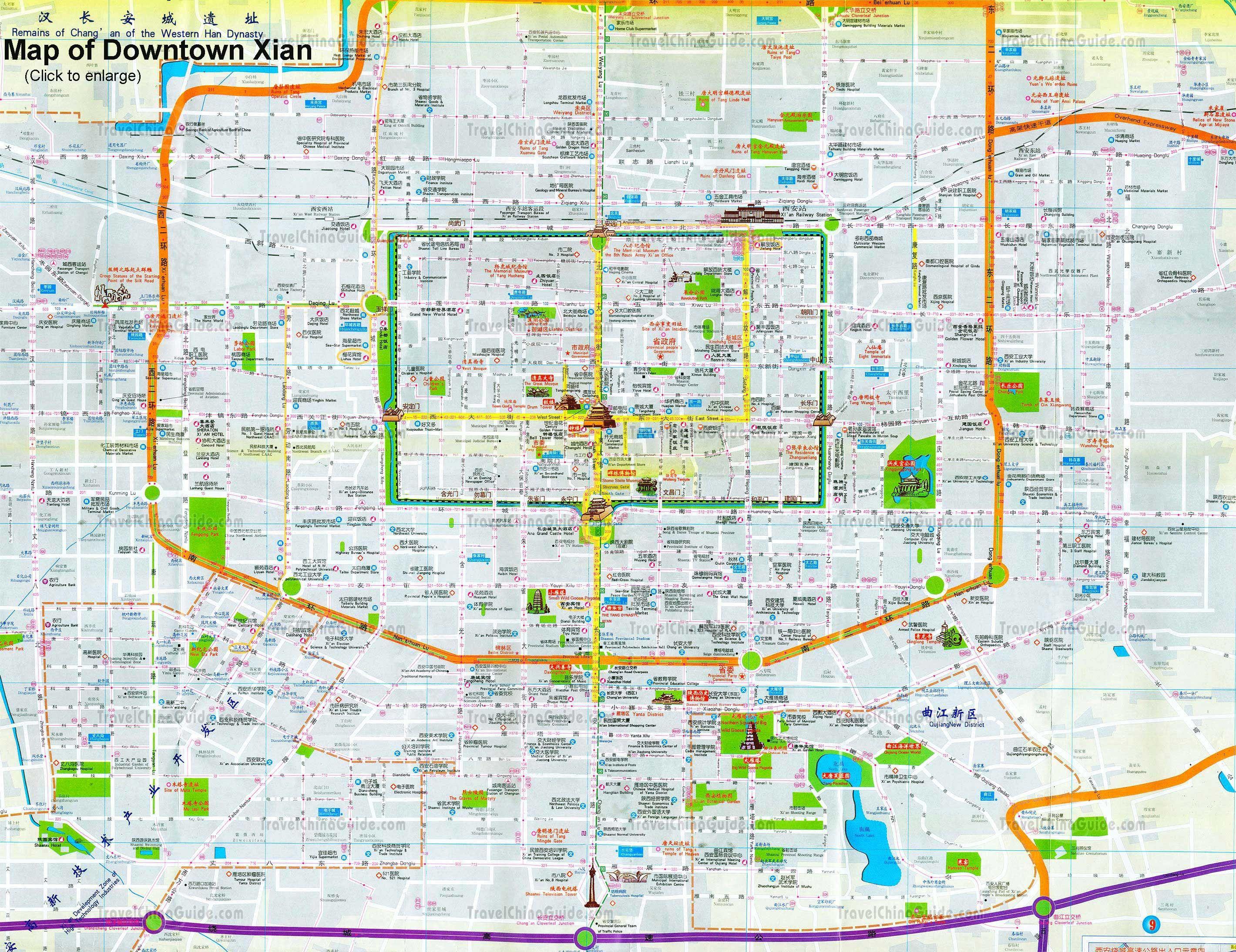 xian in china map Maps Of Xian China Xi An Travel Map Diy Map xian in china map