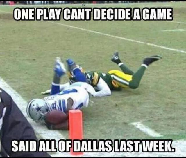 Dallas Cowboys and Green Bay Packers. Giggles. Championship Conference with Seattle Seahawks. GOHAWKS!