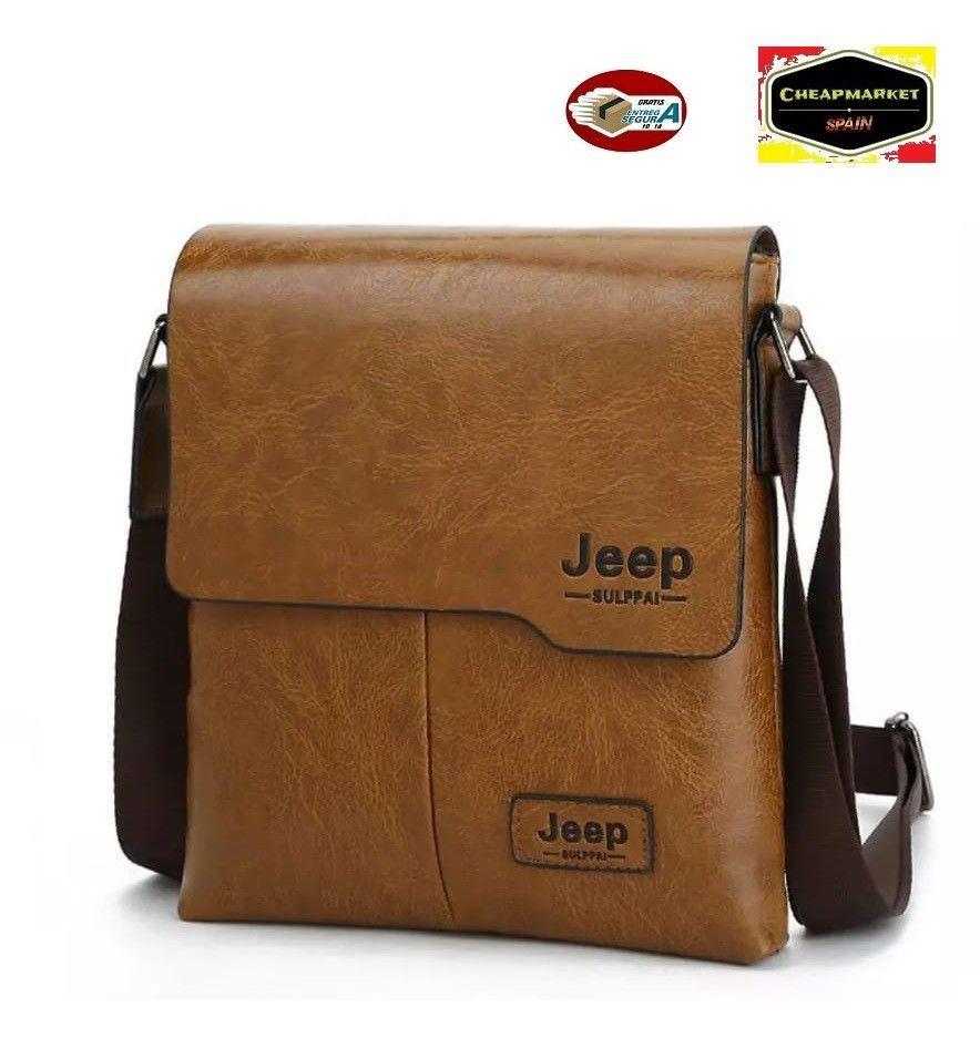 68de0f691 Bolsa de hombre bandolera Jeep sulpai de cuero mochila hombro negocios  marron cl