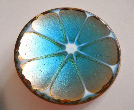 Vintage Hogan Bolas Brooch Pin Blue Enamel on by LakeBreezes