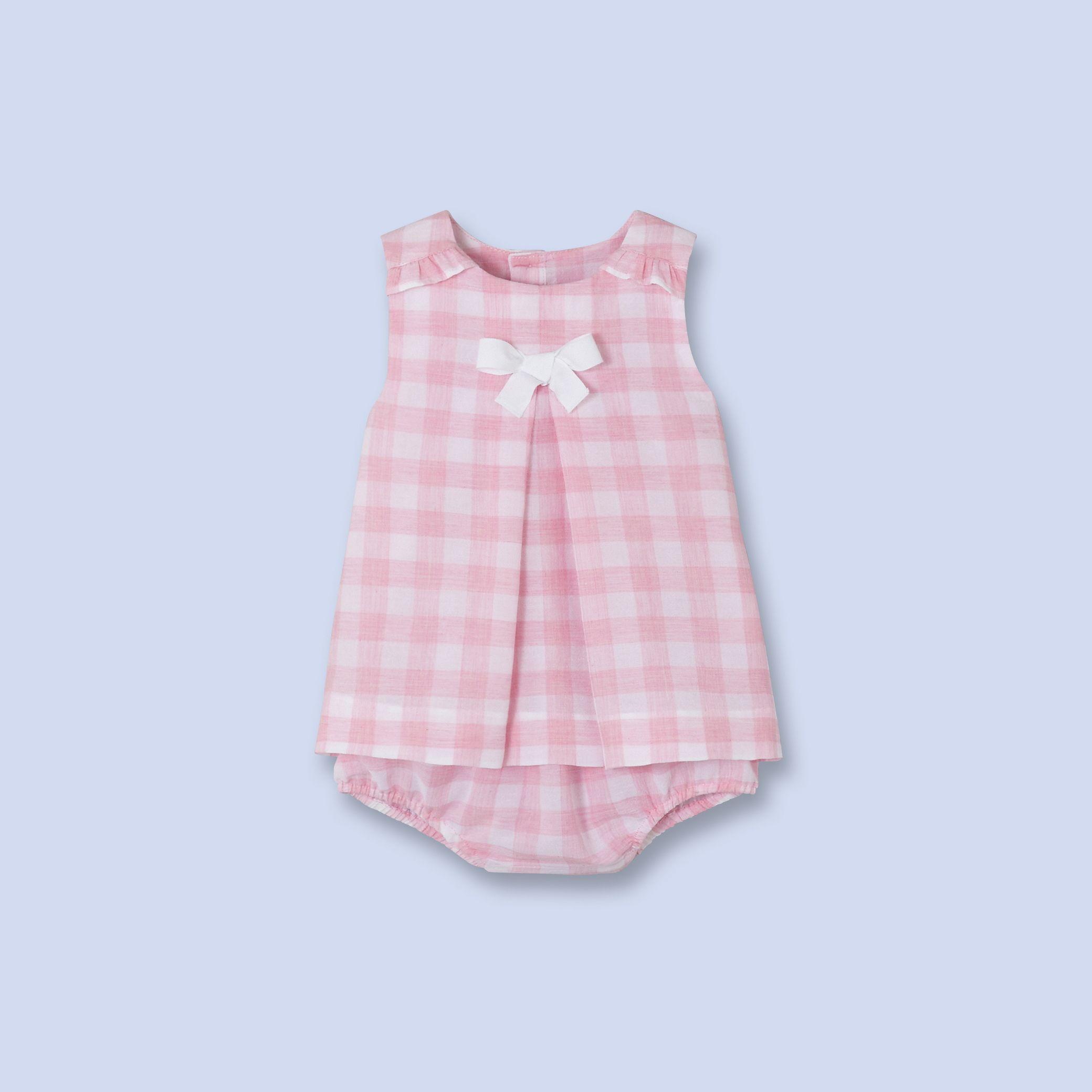 Robe-bloomer en crépon vichy pour bébé, fille