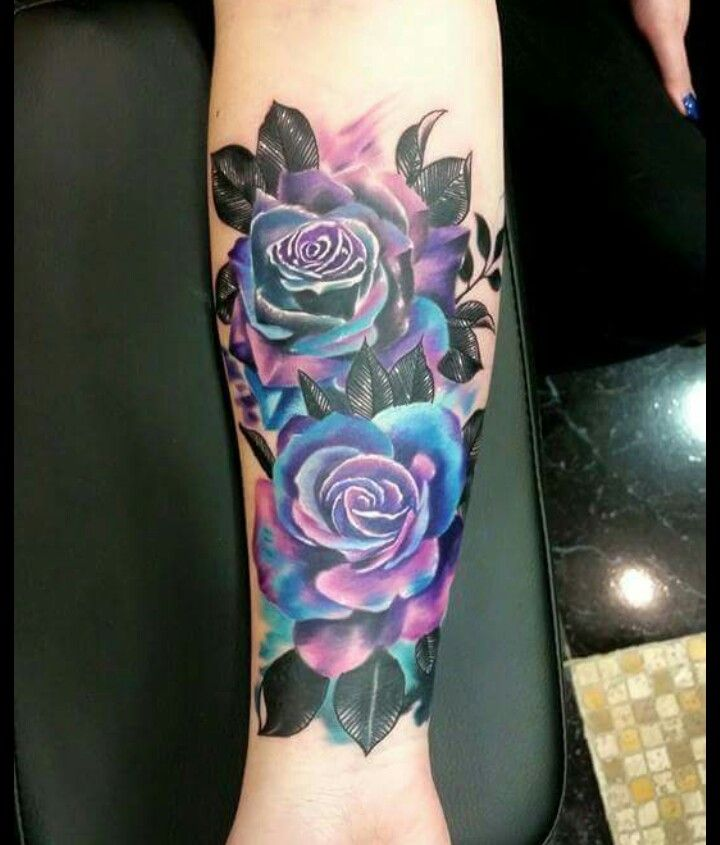 406bffed2 Thinking about getting this is the near future! Purple and blue rose forearm  tattoo.