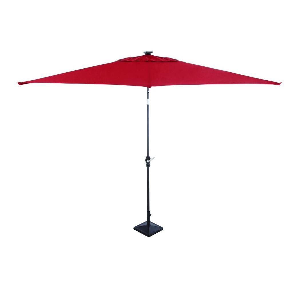 Rectangular Patio Umbrella With Solar Lights Pleasing Hampton Bay 9 Ftrectangular Solarpowered Patio Umbrella In Design Ideas