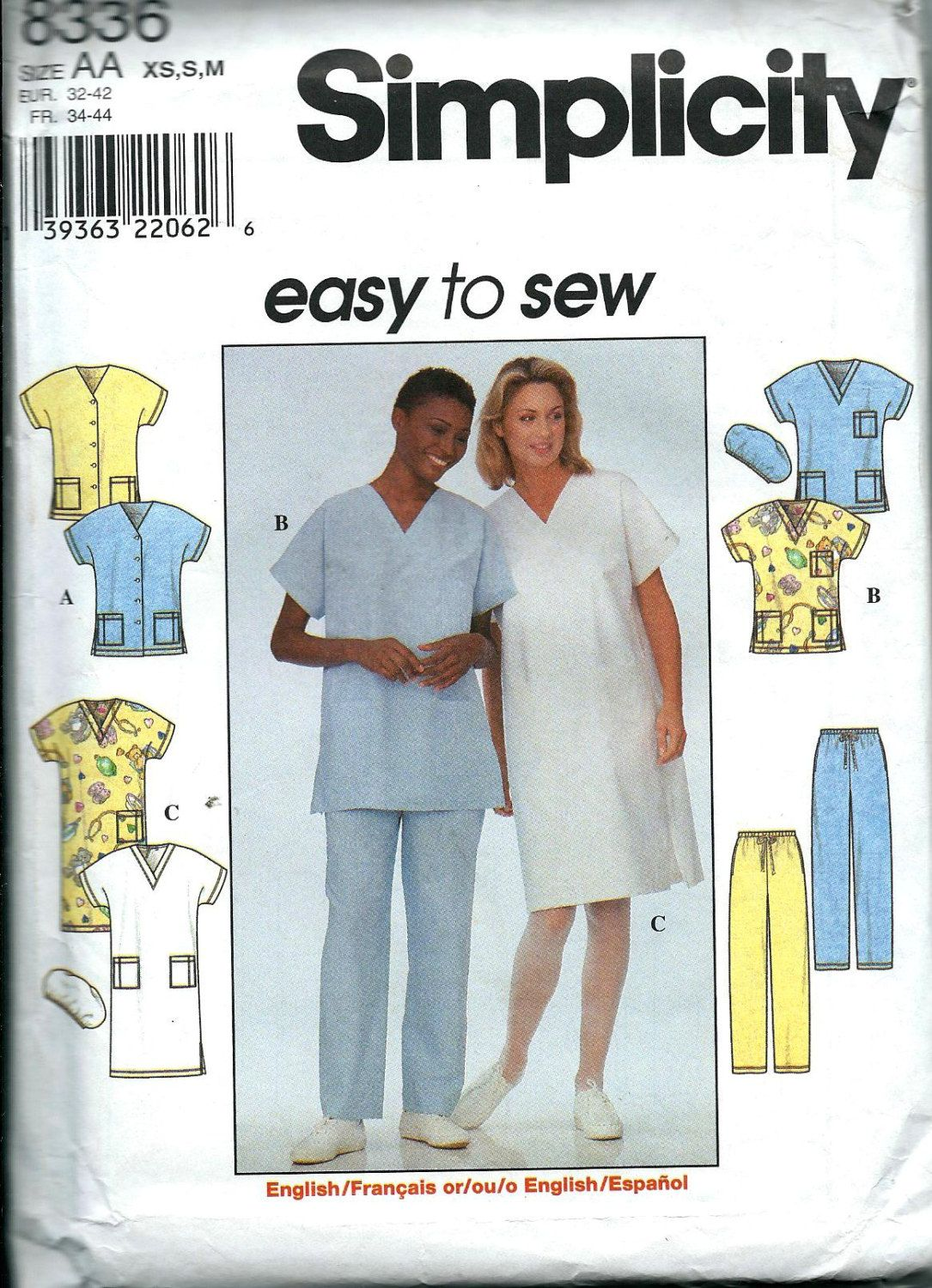 Misses Top Dress Pants And Scrub Hat Pattern Easy To Sew Etsy Simplicity Sewing Patterns Sewing Patterns Easy Sewing