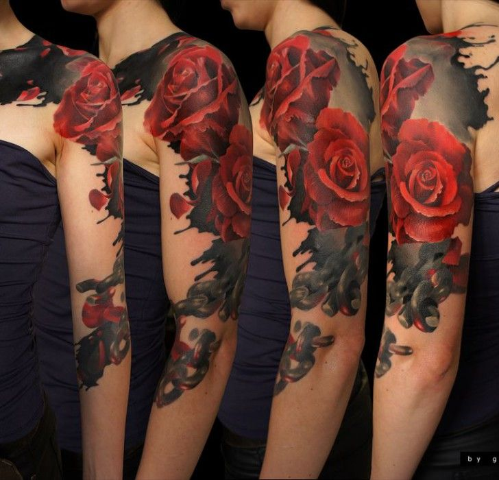 Red And Black Rose Tattoo Half Sleeve Andrey Barkov Grimmy Best Sleeve Tattoos Black Rose Tattoos Realistic Flower Tattoo