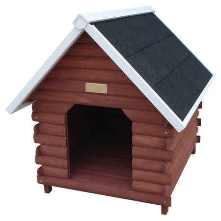 Perfect tucked in your living room nook or nesting in the backyard, this fir wood dog house showcases a log cabin silhouette for rustic appeal. ...