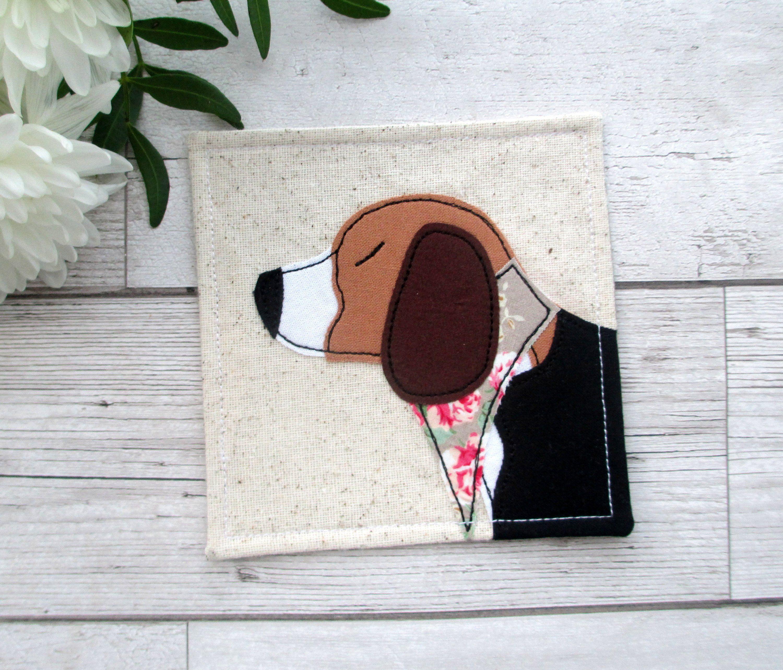 Beagle Dog Coaster Fabric Beagle Gift Fabric Coasters Gifts