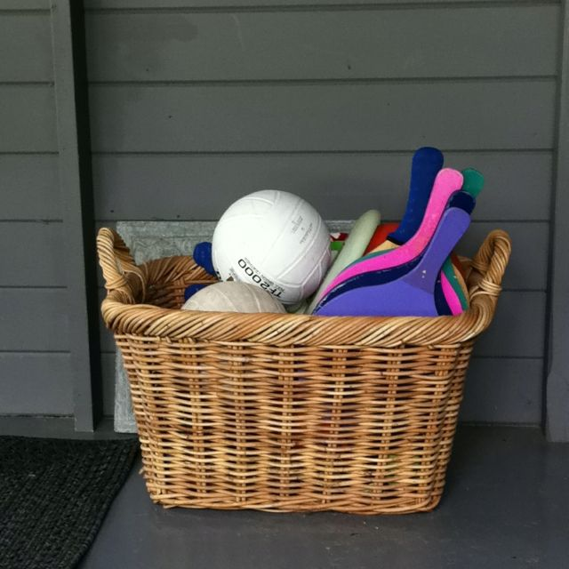Toy Basket On The Patio For Outdoor Stuff