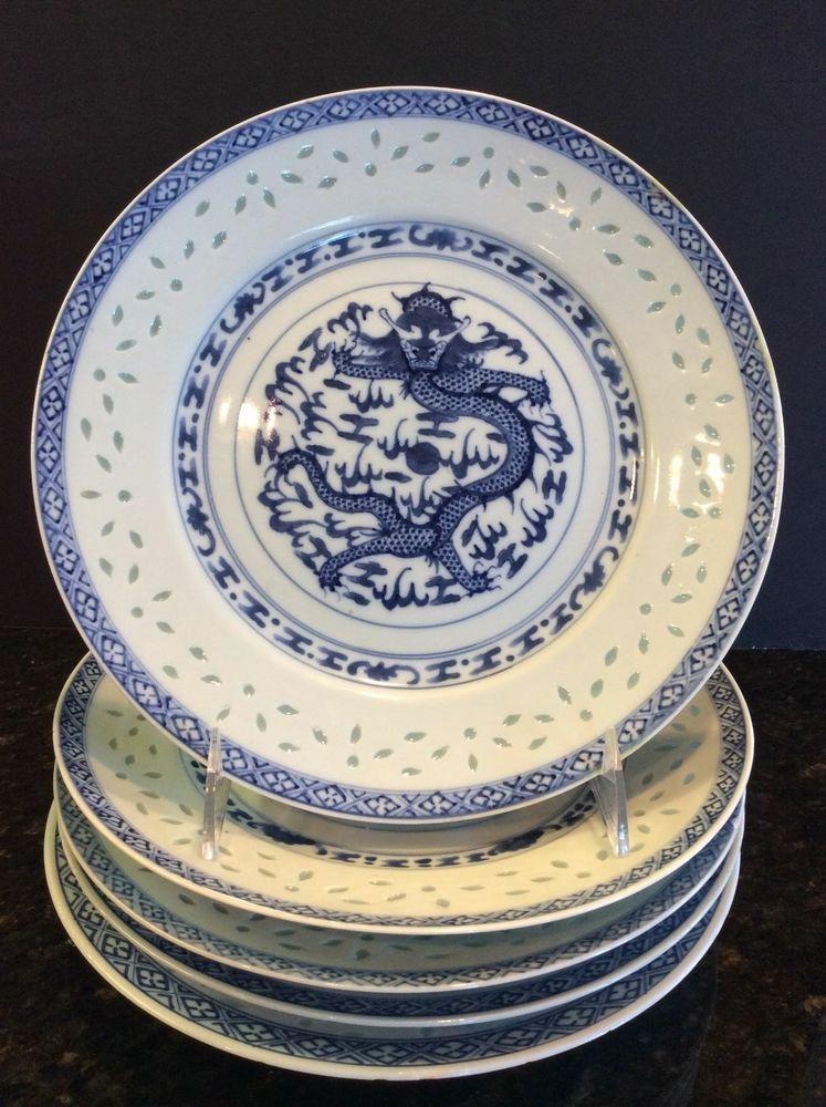 Set 5 Blue \u0026 White Asian Porcelain Dragon Plates Translucent Rice Eyes China & Set 5 Blue \u0026 White Chinese Porcelain Dragon Plates Translucent Rice ...
