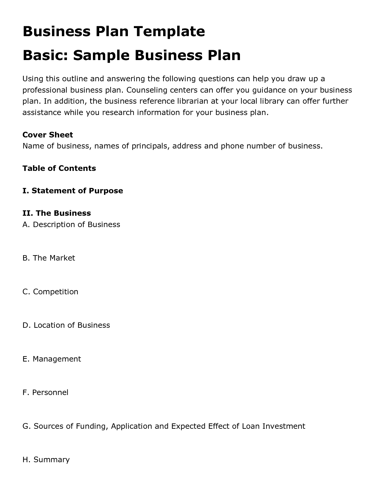Free Printable Business Plan Template Form Generic