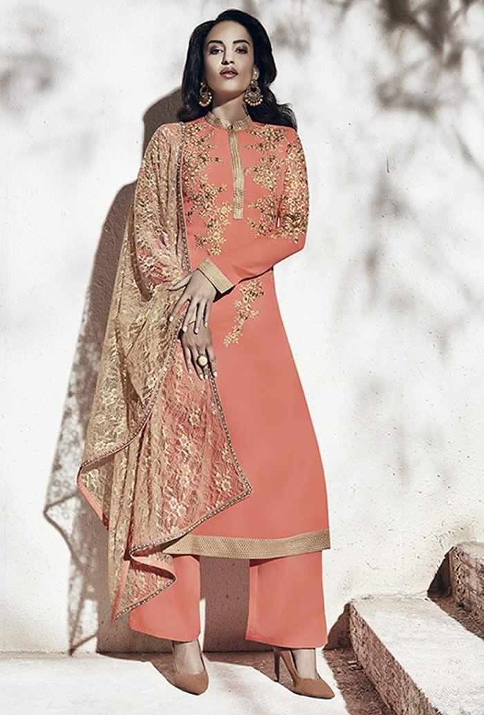01137ac555 Peach Colour Georgette Designer Party Wear Suit Buy Sarees ...