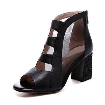 Nine Seven Genuine Leather Womens Peep Toe Mesh Contrast-stitching Chunky Heel Sandal