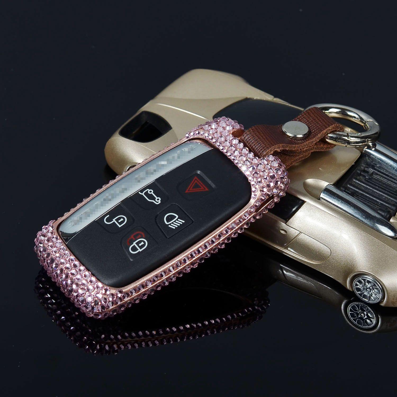 Diamond Car Key Fob Cover For Jaguar Aluminum Case Genuine Leather