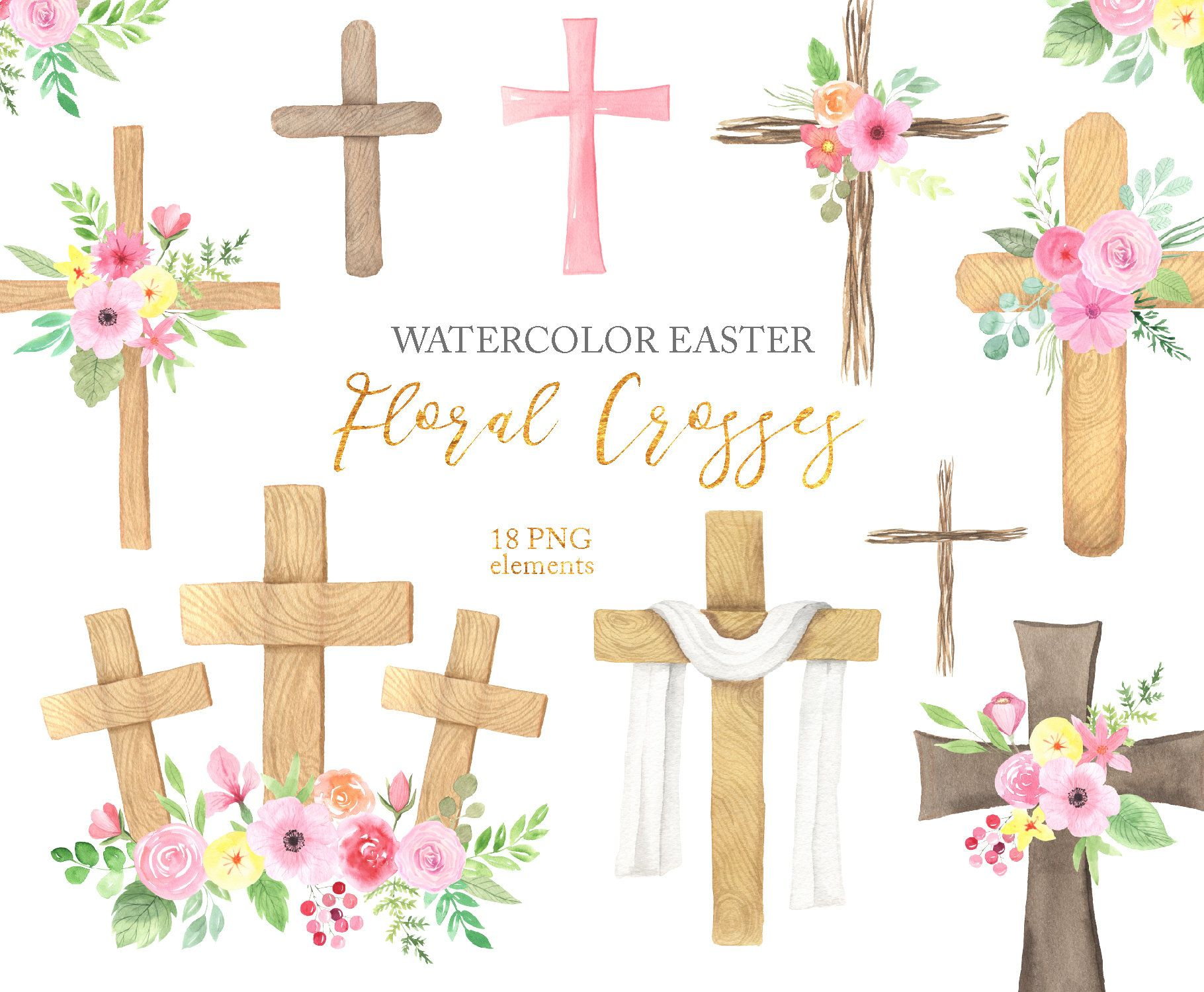 Watercolor Easter Cross Clipart Spring Wood Crosses With Etsy In 2021 Easter Cross Clip Art Easter Clipart