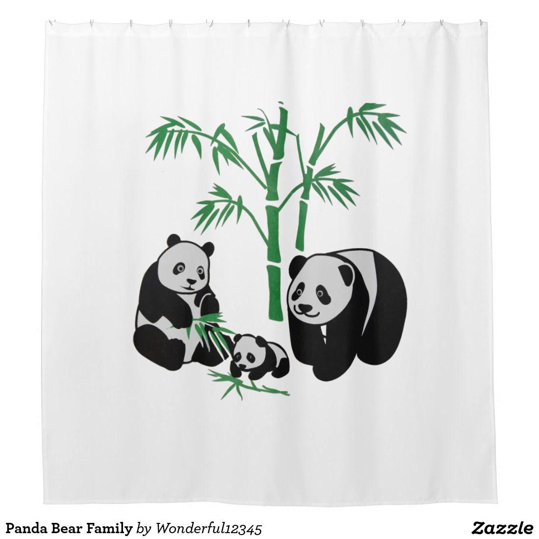 Panda Bear Family Shower Curtain Zazzle Com Panda Bear Panda
