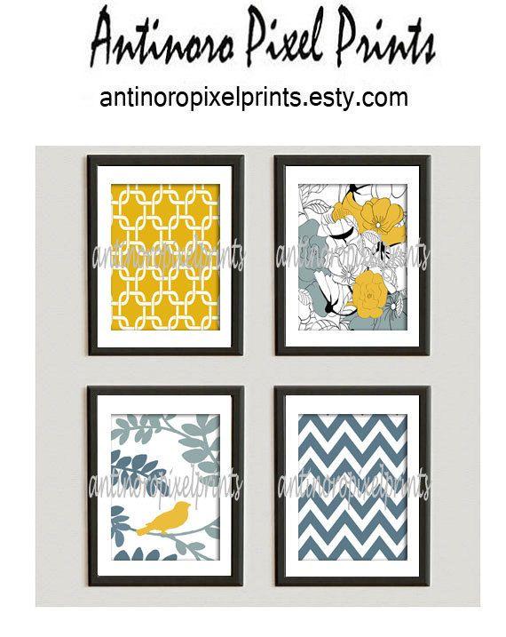 Unframed Vintage Modern Yellow Bird Art by antinoropixelprints, $45.00