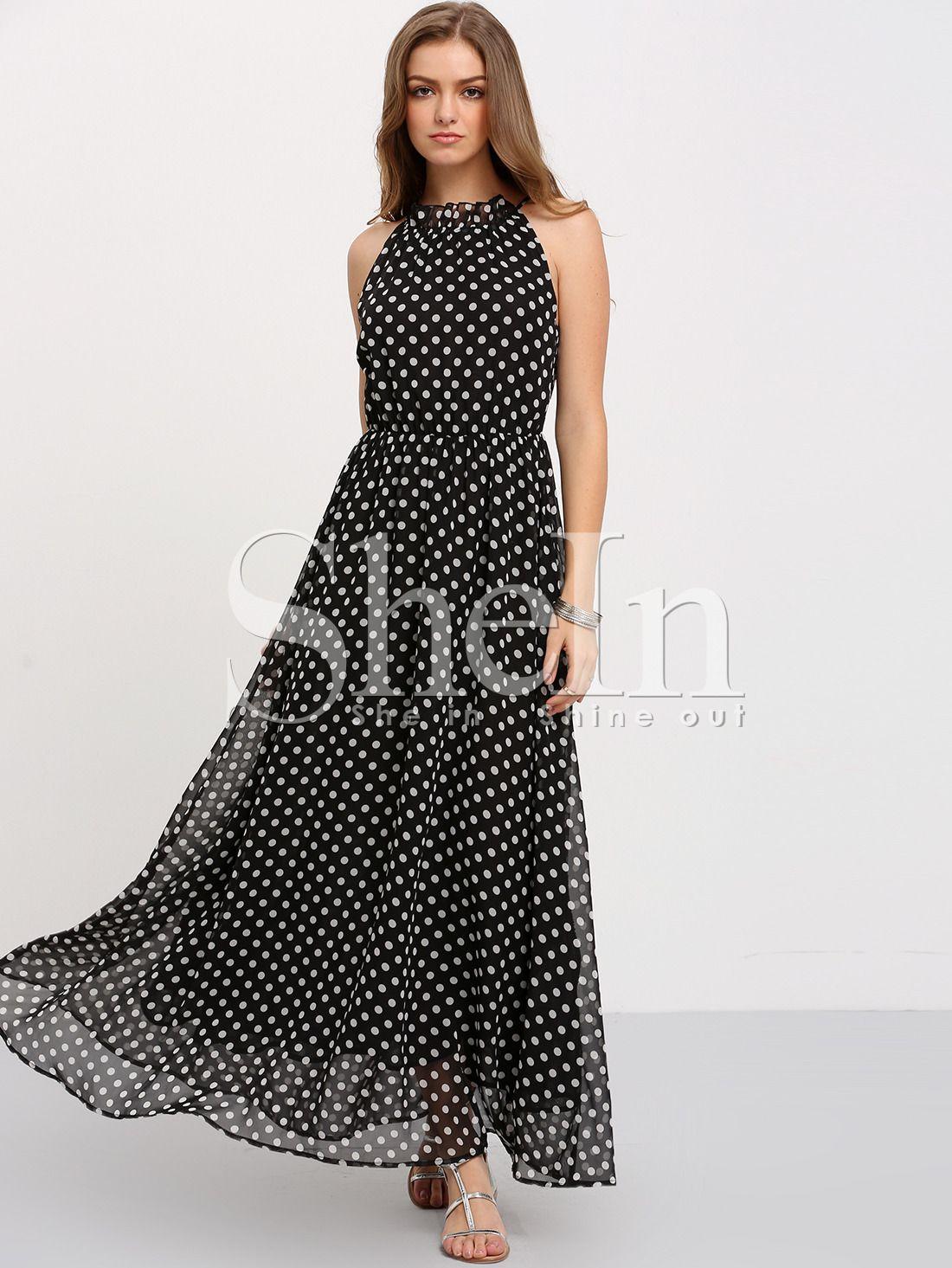 Black Sleeveless Polka Dot Maxi Dress Shein Sheinside Maxi Dress Polka Dot Maxi Dresses Gorgeous Dresses [ 1465 x 1100 Pixel ]