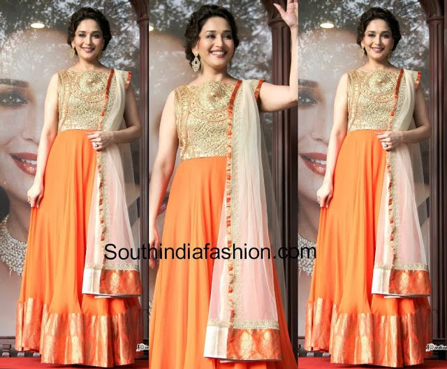 Madhuri Dixit In Floor Length Anarkali South India Fashion India Fashion Fashion Anarkali Patterns
