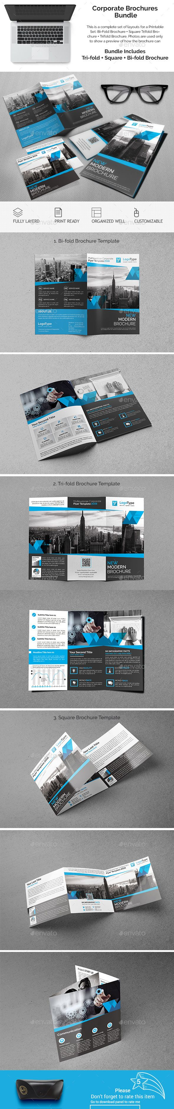 Printable Tri Fold Brochure Template Corporate Brochures Bundle 06 This Is A Complete Set Of Layouts For .
