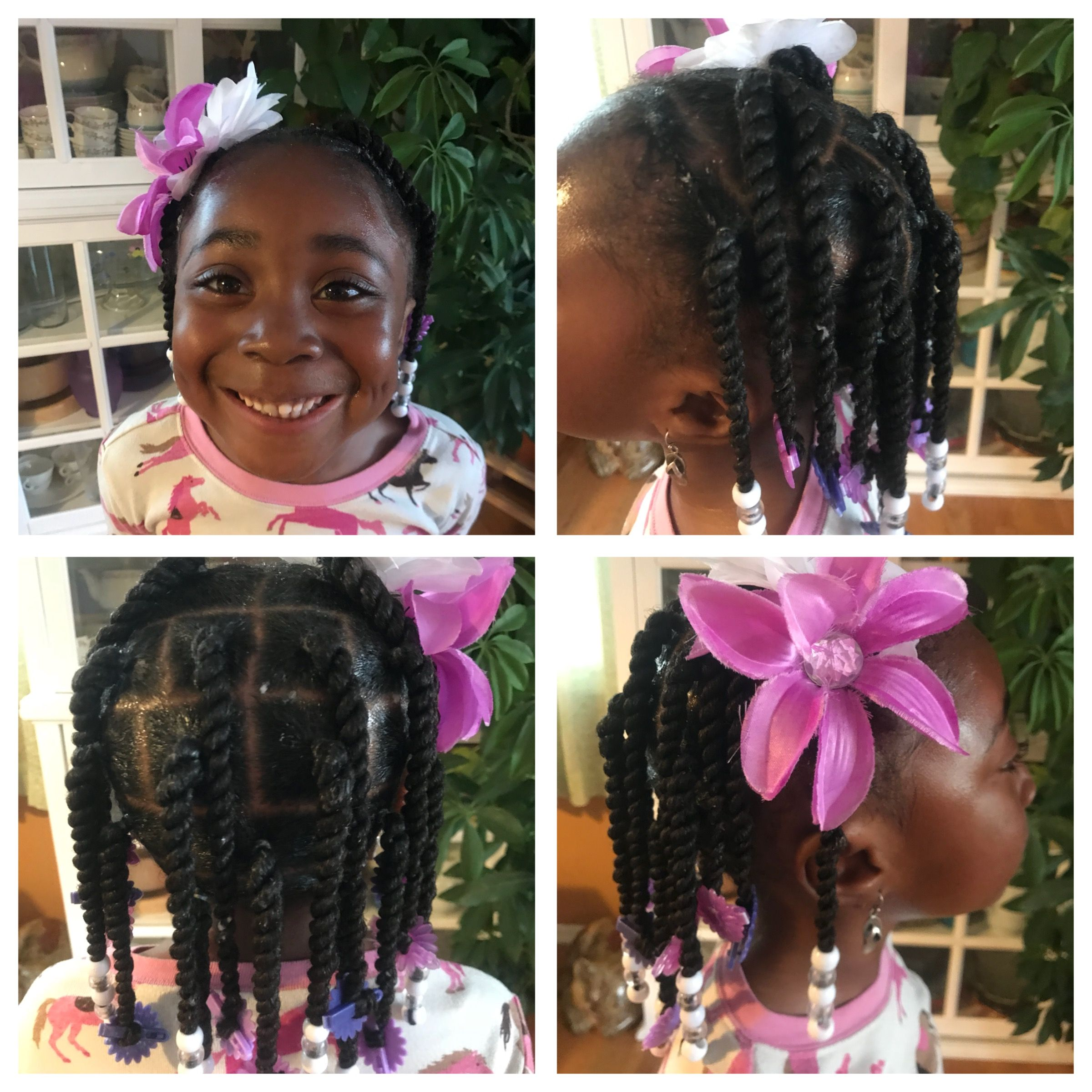 Girls Natural Hairstyle Twists Beads Barrettes Protective Style