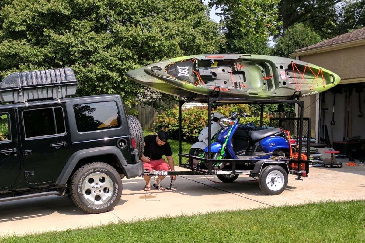 Like To Take Scooters Bicycles Dirt Bikes Atvs And Kayaks With You Camping Kyle S Setup Shows How Easy You C Utility Trailer Kayak Trailer Camping Trailer