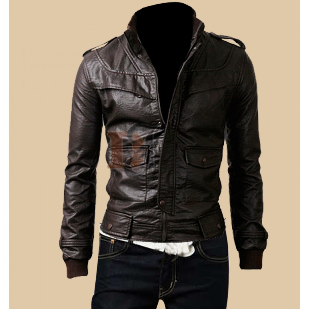 Mens Rocker Slim Fit Brown Genuine Leather Jacket Dark