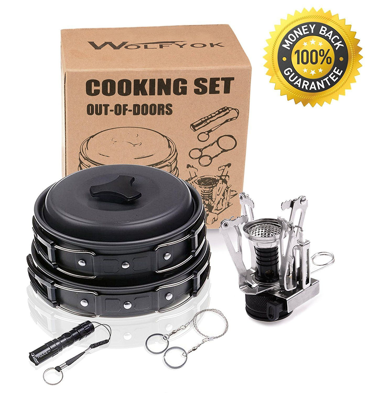 Wolfyok Outdoor Cookware Set Bundle with Mini Camping Stove
