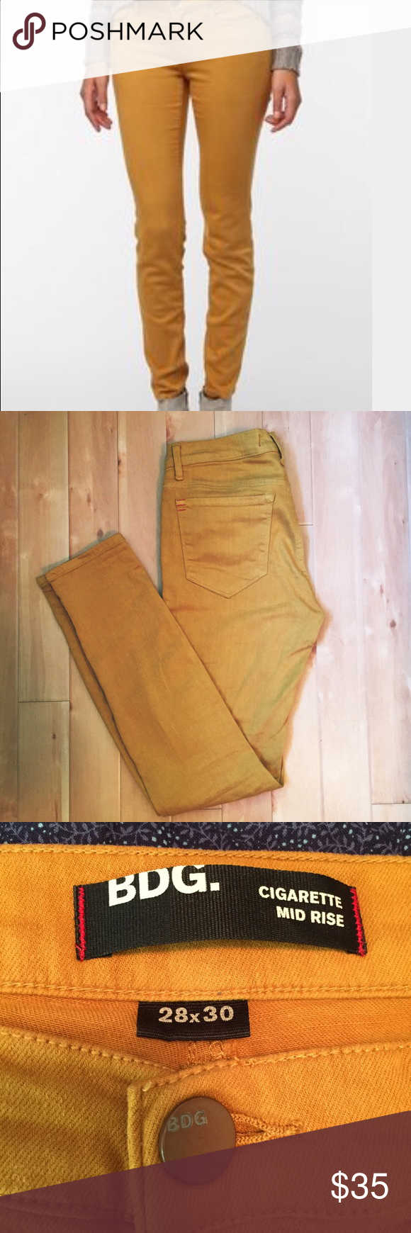 BDG Cigarette Mid Rise Skinny Jeans A gorgeous, warm, golden mustard colored pair of pants. Wonderfully soft and stretchy. Urban Outfitters Pants Skinny