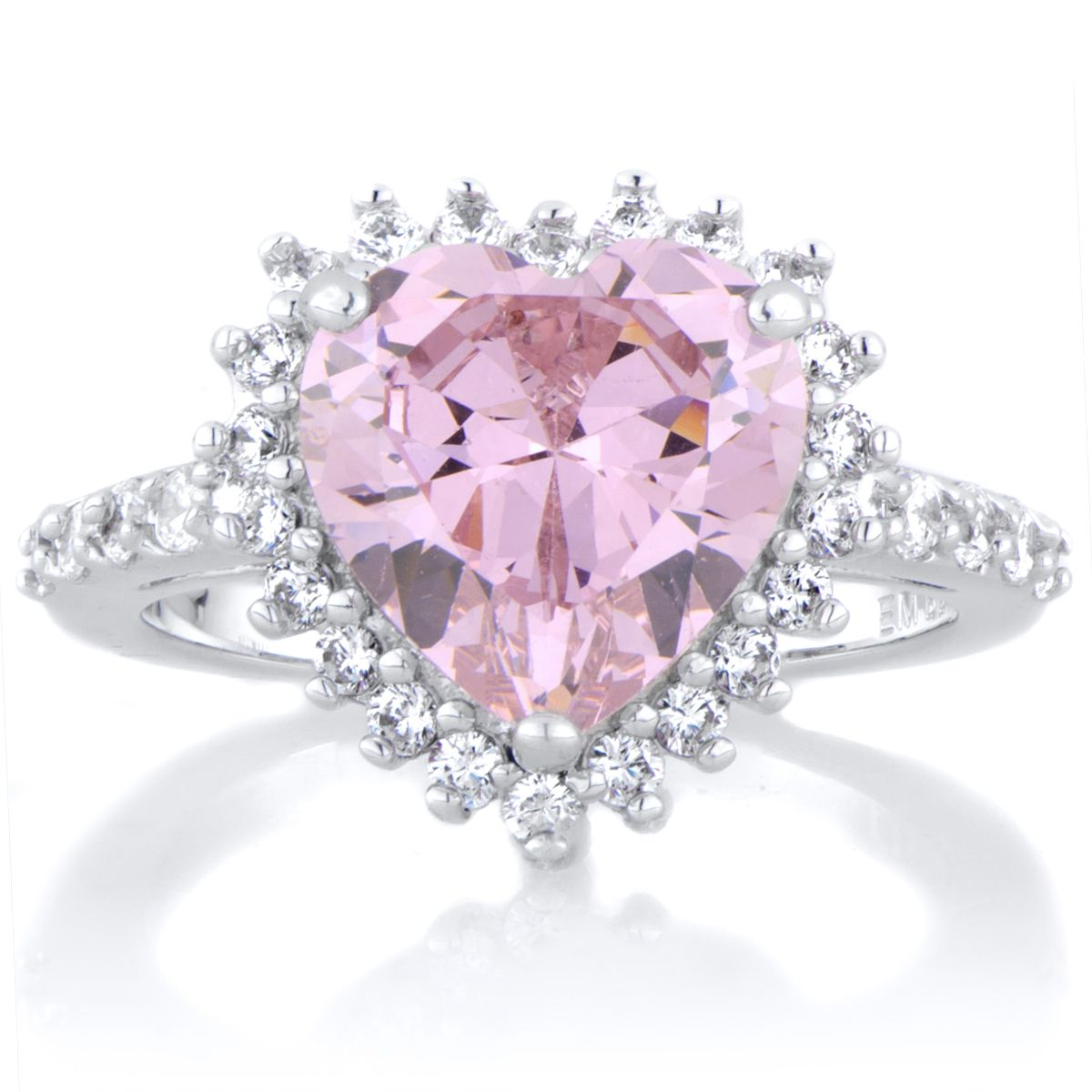 gemstone heart topaz ring gold cluster wedding image large pink jewellery diamond white rings