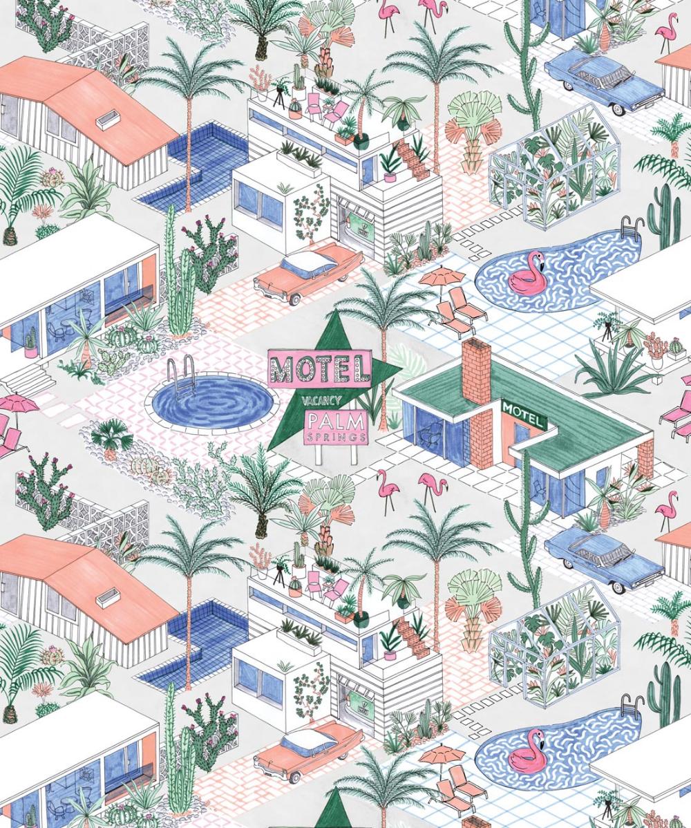 Palm Springs, Mid Century Inspired Designer Wallpaper